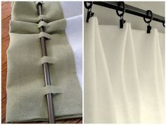 two ways to make your own curtains without sewing. You can either hang up fabric with clip-ons, or you can cut slots in the back of the curtain so that you can attach it to the rod