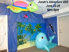 Jonah and The Whale VBS Idea - I like the idea of using pool animals for props.  :)