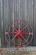 "COMPASS ROUND METAL SIGN, RED,  41""D"