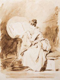 Jean-Honoré Fragonard, Jeune fille lisant. Vienne, Graphische Sammlung Albertina.  www.editionsdianedeselliers.com