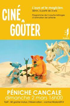 Ciné-Goûter L'ours et le magicien, 3 courts-métrages à partir de 3 ans, 50min. Le dimanche 2 mars 2014 à Dijon.  16H00