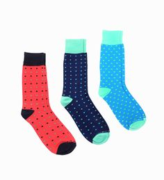 Assorted Socks 3-Pack by Unsimply Stitched. Cotton blend knit socks, mid-calf height, solid ribbed cuff, heel and toe, super fun and bright socks come with three color, with dot pattern, these socks sure looks super fun and cool. http://www.zocko.com/z/JEUE2