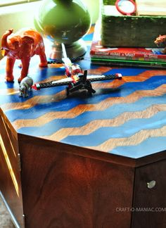 Up-Cycled Chevron Table Using FrogTape® Shape Tape™ - Craft-O-Maniac