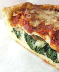 Stuffed Pizza ~ This recipe is a project, no doubt about it. Homemade crust, slowly simmered sauce, even homemade sausage — all contribute to the pizza's wonderful marriage of flavors and textures. Veg Pizza, Spinach Pizza, Crust Pizza, Pizza Recipes, Veggie Recipes, Pastry Recipes, Sweet Recipes, Pizza King, Chicago Style Pizza