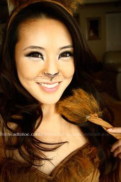 Ditch your go-to cat getup for a fiercer feline this year. More cute than creepy, a lioness is a quick and simple look you can easily re-create at home. #halloween #kitty