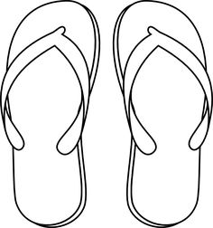Flip Flop Clip Art Black And White Sketch Coloring Page