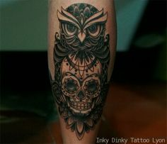 Tatouage Hiboux et sugar skull, owl Tattoo