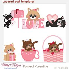 Firesale - Purr-fect Valentine Cat Kitty Kitten Love PSD Templates by Kristi W. Designs March 2014 at - digital products resale Diy Party Crafts, Scrapbooking Digital, Kitten Love, Art Clipart, Paint Shop, Punch Art, Craft Projects, Valentino, Clip Art