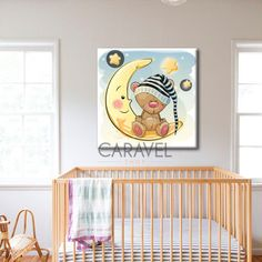 Παιδικός Πίνακας σε καμβά με φεγγάρι, τελαρωμένος καμβάς, καμβάς ζωγραφικής, μονοτυπία, πίνακες με κορνίζα,