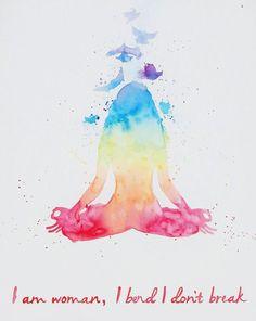 Original Watercolor  Large Meditation Yoga Pose by MyHappyHeartArt
