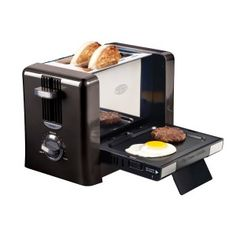 Nostalgia Electrics - Flip-Down Breakfast Toaster - Bring your toasting experience into the future. Toast either a muffin or bagel in the toaster and cook and egg and sausage at the same time with the clever flip-down griddle. Home Gadgets, Cooking Gadgets, Gadgets And Gizmos, Cooking Utensils, Tech Gadgets, Cooking Eggs, Specialty Appliances, Small Appliances, Kitchen Appliances