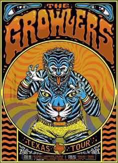 The Growlers Texas Tour Poster. Tour Posters, Band Posters, Music Posters, Wine Poster, Poster Wall, Growlers Band, Texas Tour, Horror Font, New Flyer