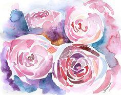 Pioenrozen Aquarel 11 x 14 Giclee Print bloemen door SusanWindsor