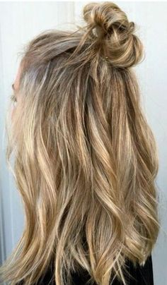Blonde lob top knot
