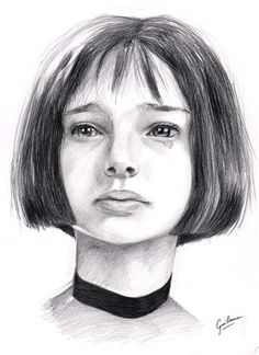 A little Mathilda drawing from L on Leon Matilda, Outline Drawings, Pencil Art Drawings, Drawing Sketches, Sketching, Drawing Art, The Professional Movie, Leon The Professional Mathilda, Mathilda Lando