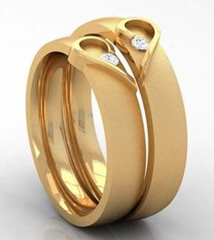 Gold ring designs - 15 Matching Pair Couple Gold Rings Designs in India – Gold ring designs Couple Rings Gold, Engagement Rings Couple, Designer Engagement Rings, Indian Engagement Ring, Gold Ring Designs, Wedding Ring Designs, Gold Jewellery Design, Diamond Jewellery, Jewellery Box