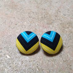 """Covered button earrings. 7/8"""" button base."""