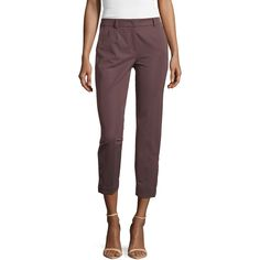 Escada Cropped Pants w/Button Detail ($225) ❤ liked on Polyvore featuring pants, capris, henna, zip pants, escada, button pants, stretchy pants and escada pants