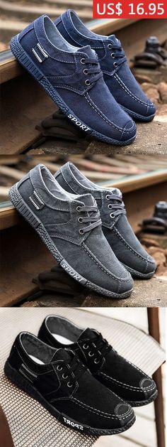 Men Style Canvas Breathable Lace Up Casual Shoes d3e83ef99e94