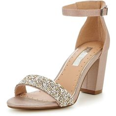 Miss Kg Cadey Block Heel Embellished Sandal ($79) ❤ liked on Polyvore featuring shoes, sandals, nude shoes, toe strap sandals, high heeled footwear, nude high heel shoes and summer shoes