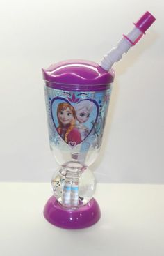 New Authentic Disney Frozen Anna Elsa Olaf Plastic Straw Globe Cup Water Tumbler
