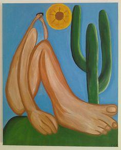 Não foi nada fácil pintar esta obra de Tarsila do Amaral. Mas fiquei muito feliz com o resultado! A obra chama-se 'Abaporu', e foi pintada em 1928.