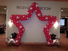Stage or Entrance Star Shape Balloon Arch with foil stars