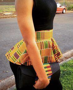 Kente Peplum Belt and matching purse African Attire, African Wear, African Dress, African Print Fashion, African Fashion Dresses, Fashion Prints, Kente Dress, African Blouses, African Accessories