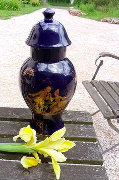 Limoges Cobolt Blue urn / vase Vintage French by PaulWoodsArt2b, £65.95
