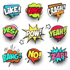 Collection of Cartoon, Comic Speech Bubbles. Colored Dialog Clouds with Halftone Dot Background in Pop Art Style. Vector Illustration for Comics Book. Speech Bubbles with Word and Sound Illustration , pop art Comic Styles, Cartoon Styles, Letras Comic, Comic Sound Effects, Vexx Art, Tableau Pop Art, Comic Text, Sketch Note, Download Comics