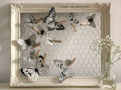 Shabby soul: Paper Butterfly - Tutorial and pattern--chicken wire framePaper butterflies (from Shabby soul) === wired frame, always ready for a change-upPaper Butterfly tutorial and pattern - could this be done with bird instead for table plan? Frame Crafts, Wire Crafts, Diy And Crafts, Clothespin Crafts, Diy Paper, Paper Crafts, Wooden Clothespins, Diy Casa, Butterfly Crafts