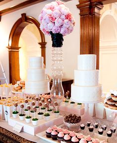 {great dessert table ~ notice the potted cake pops, bagged popcorn, layout}