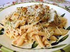 Grilled Chicken over Tomato Alfredo Sauce | Plain Chicken