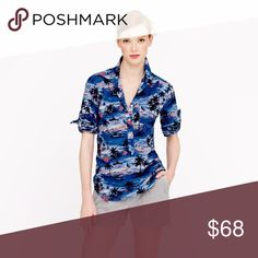 J. Crew Hawaiian Sunset popover camp shirt NWOT. Five button lightweight cotton popover shirt. Left chest pocket.  Great coverup for the beach. J. Crew Tops Button Down Shirts