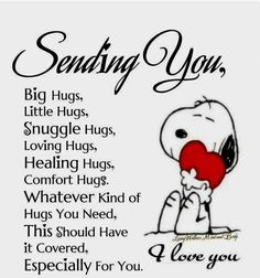 Snoopy bringing some love. Hug Quotes, Love Quotes, Funny Quotes, Inspirational Quotes, Snoopy Hug, Snoopy Love, Snoopy Quotes Love, Charlie Brown And Snoopy, Image Positive