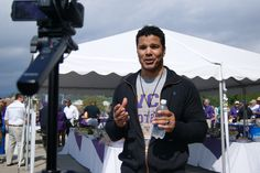 Former Catamount football player Geno Segers, who can be seen on the Disney Channel's Pair of Kings, talking with the Catamount media relations staff about the All-Sports reunion.