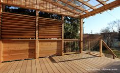 Ipe deck covered by pergola with polycarbonate and louvers between the joists to control the light. Curved red cedar railing with inserts of tempered glass. Deck With Pergola, Backyard Pergola, Pergola Plans, Pergola Kits, Gazebo, Pergola Ideas, Patio Ideas, Metal Pergola, Pergola Canopy