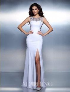 Mermaid Bateau Sleeveless Beading Floor-Length Chiffon Dress