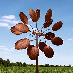"84"" Big Modern Art Kinetic Wind Sculpture Brushed Copper ..."
