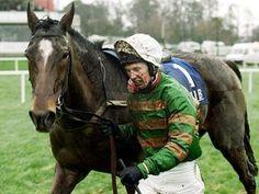 ISTABRAQ with jockey Charlie Swan. He is an Irish legend and a descendant of Secretariat, through his dam, Betty's Secret, a 'blue hen' daughter of Secretariat, and she is also the dam of Secreto, the 1984 Epsom Derby winner.