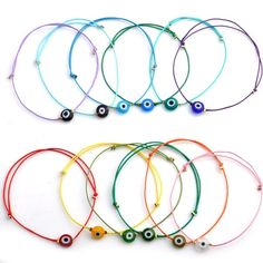 Colorful String Different Colors Evil Eye Simple Cheap Bracelet For Women Girls Gift couro pulseiras de couro