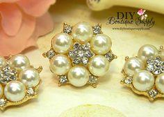 Beautiful GOLD Rhinestone Pearl buttons Flatback Embellishment flower centers Headbands invitations crystal bouquet  5 pcs 26mm 404042