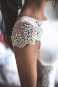 Embellishment Lace wedding dresses with cap sleeves | itakeyou.co.uk #weddingdress #weddinggown