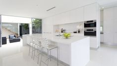 White on White Modern Kitchen Design with Polished Porcelain Tile Modern Kitchen Island, Open Plan Kitchen, Modern Kitchen Design, New Kitchen, Kitchen Decor, Modern Kitchens, White Kitchens, Kitchen Dining, Kitchen Ideas
