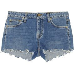 Saint Laurent Cut-off denim shorts (625 AUD) ❤ liked on Polyvore featuring shorts, bottoms, pants, short, blue, boho shorts, cut off shorts, blue short shorts, cutoff shorts and jean shorts