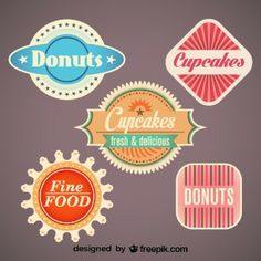 Retro Set of Food Labels and Badges