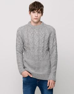 Pull&Bear - man - new products - cable knit sweater - pale marl - 09559542-I2015