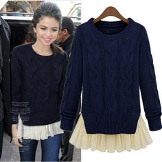 autumn and winter fashion sweater faux two piece set patchwork loose long-sleeve medium-long sweater female $35.80