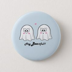 #Cute Halloween 'Hey Boo-tiful' Button - #Halloween happy halloween #festival #party #holiday