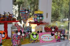Candy buffet at a Mickey Mouse Clubhouse Party #mickeymouse #clubhouse
